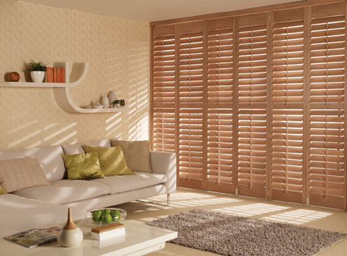 """tracked shutters in brown"""